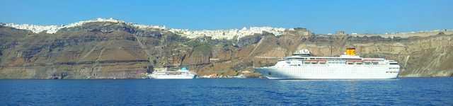 Vue de Santorin - bateau de croisière 640x150